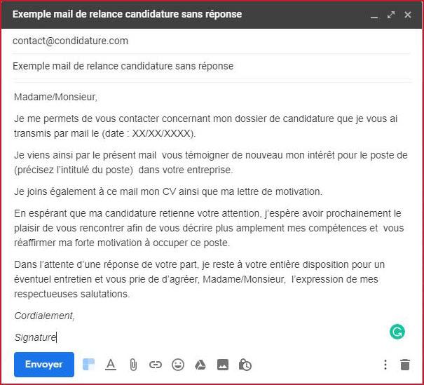 mail de relance candidature sans r u00e9ponse  mise  u00e0 jour pour 2019