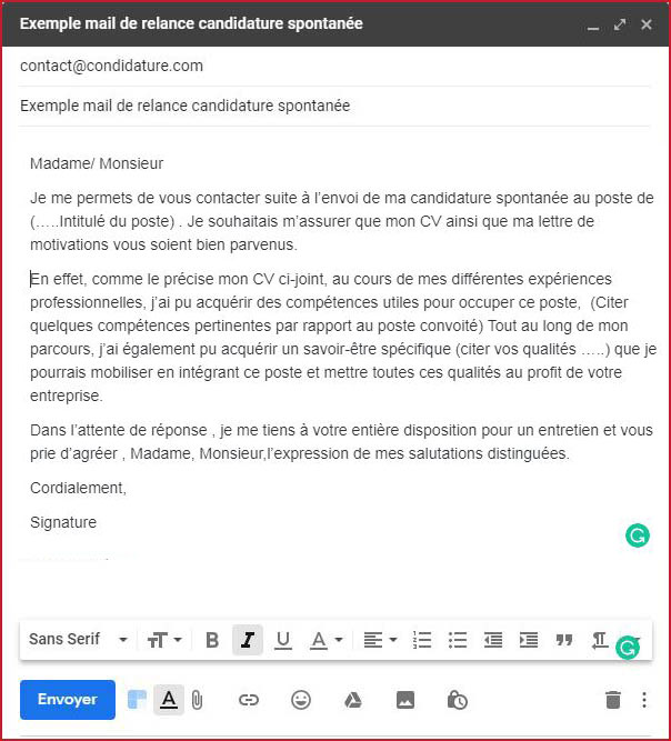 exemple mail de relance candidature spontanee